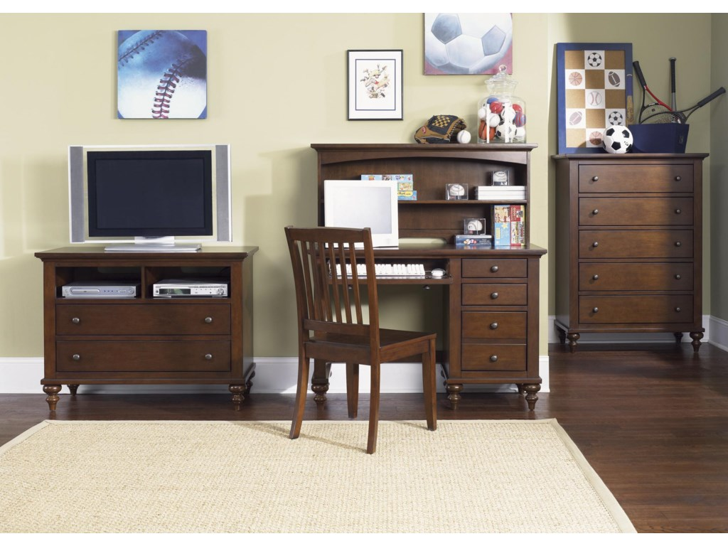 Shown with Media Chest, Desk, Hutch, and Chest