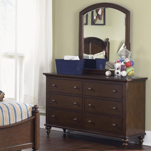 Liberty Furniture Abbott Ridge Youth Bedroom 6 Drawer Dresser & Arched Vertical Mirror