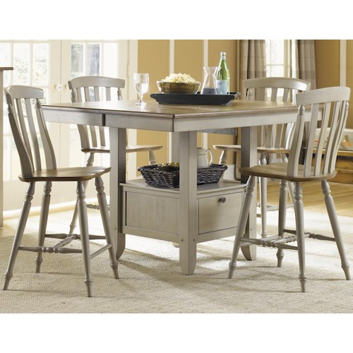 Liberty Furniture Al Fresco Five Piece Gathering Table with Counter Height Slat Back Chairs Set