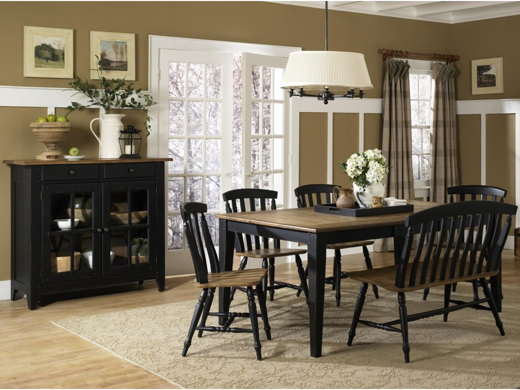 Shown with Server, Rectangular Leg Table & Bench
