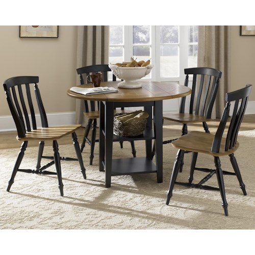 Liberty Furniture Al Fresco II Five Piece Drop Leaf Table and Slat Back Chairs Set