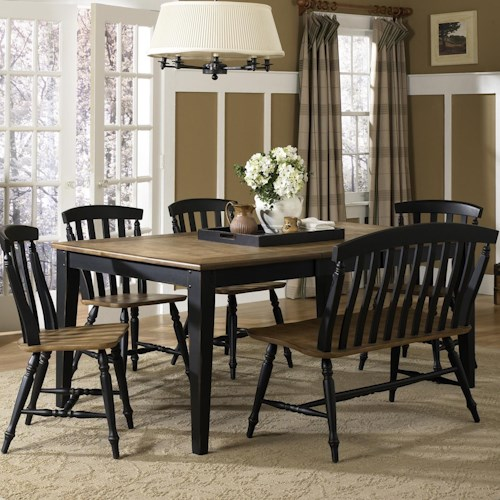 Liberty Furniture Al Fresco II Six Piece Dining Table Set with Chairs and Bench