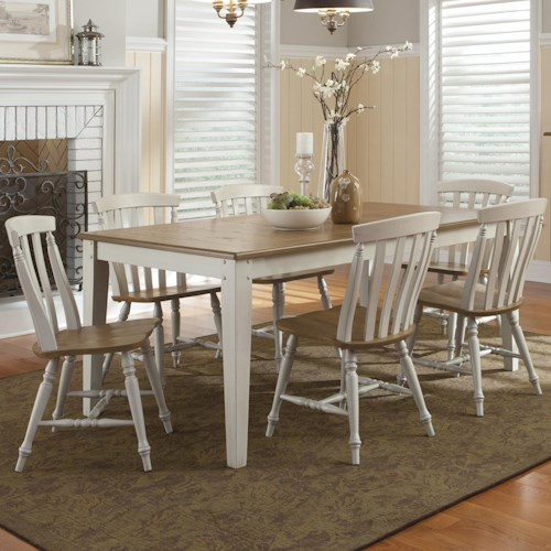 Liberty Furniture Al Fresco III Seven Piece Rectangular Table and Slat Back Chairs Set