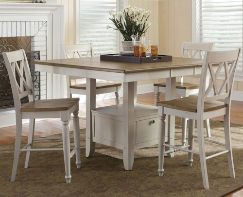 Liberty Furniture Al Fresco III Five Piece Gathering Table with Counter Height Double X-Back Chairs Set