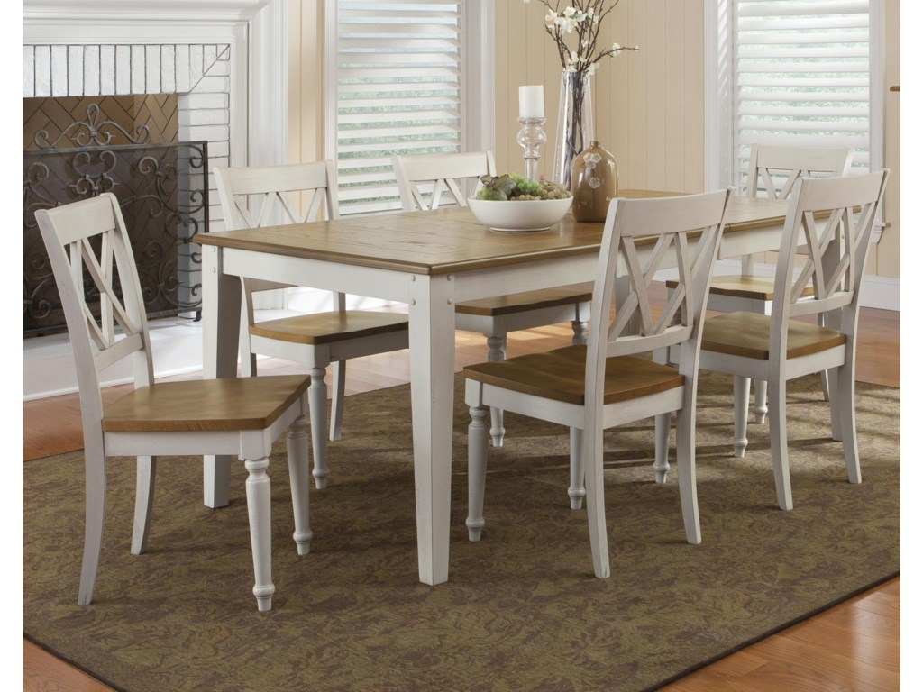 Vendor 5349 Al Fresco III7 Piece Rectangular Table and Chairs Set
