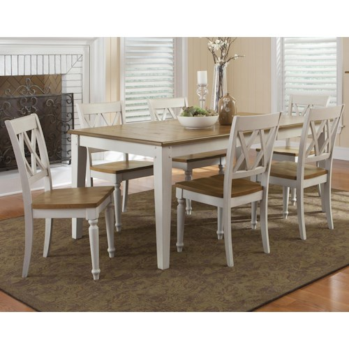Liberty Furniture Al Fresco III Seven Piece Rectangular Table and Double X-Back Chairs Set