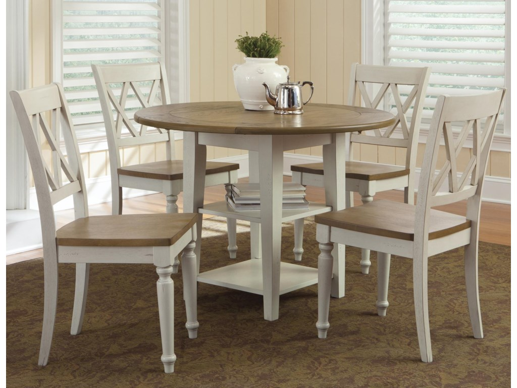 Kitchen drop leaf tables - Al Fresco Iii Five Piece Drop Leaf Table And Double X Back Chairs Set By Liberty Furniture