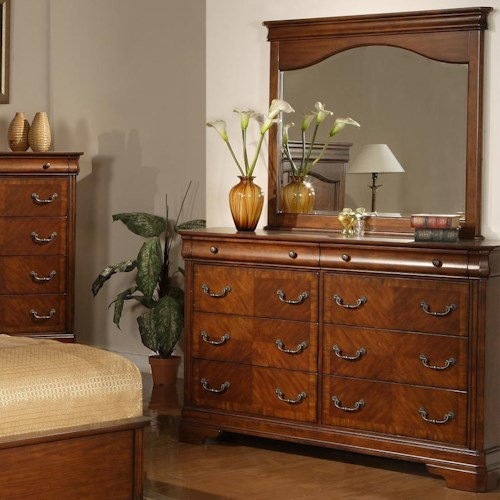 Liberty Furniture Alexandria Traditional 8 Drawer Dresser with Mirror