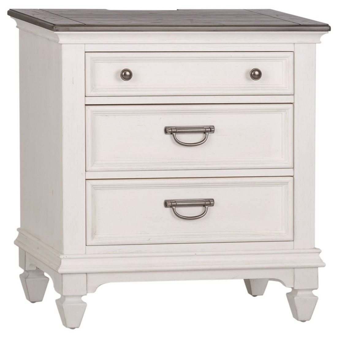 Cottage 3 Drawer Nightstand with Built In Charging Station