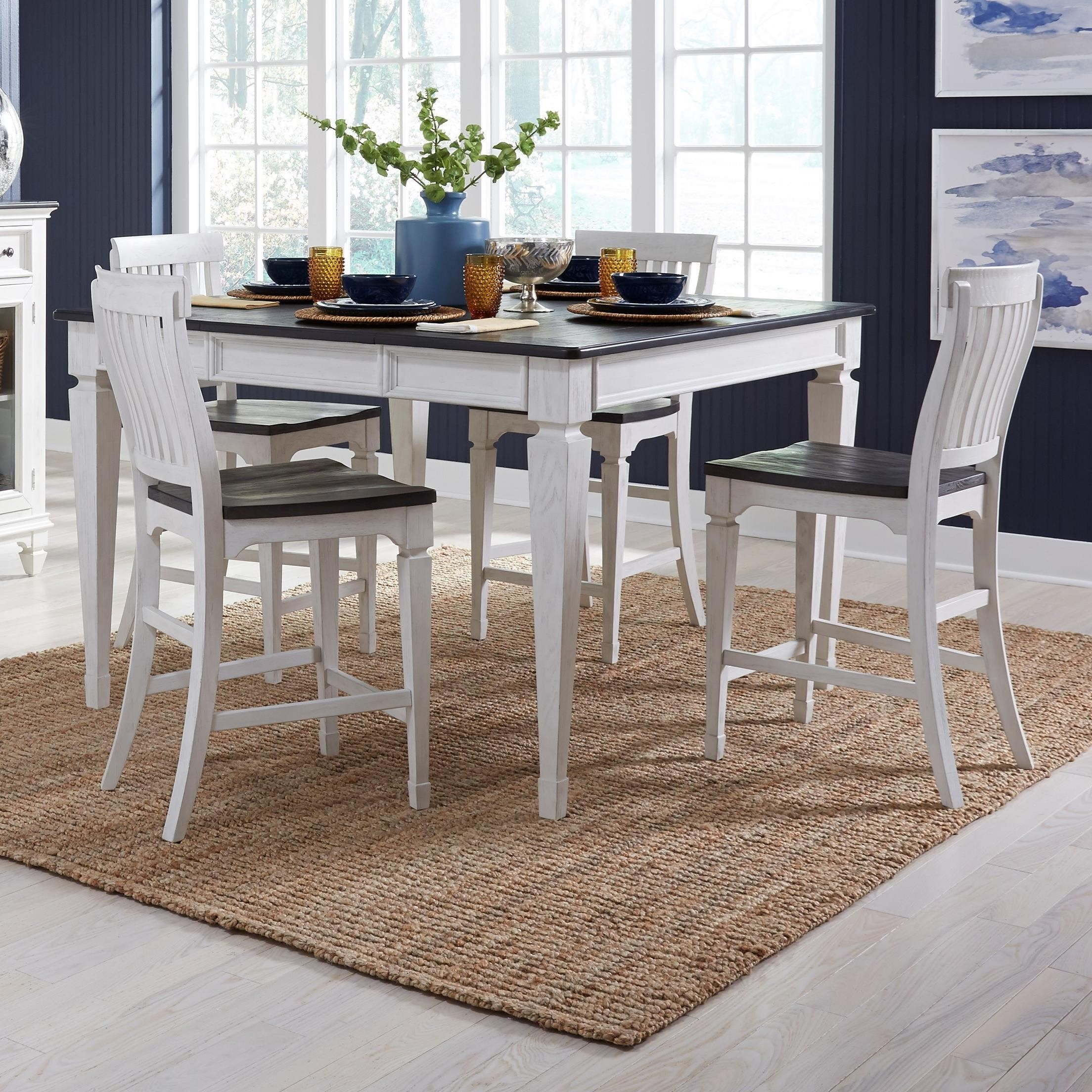 Transitional 5-Piece Gathering Table Set