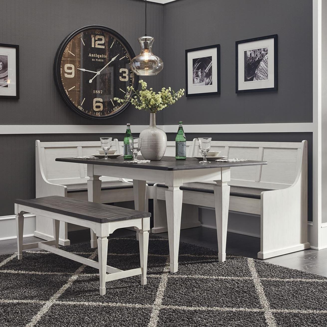 Transitional 5-Piece Nook Leg Table Set