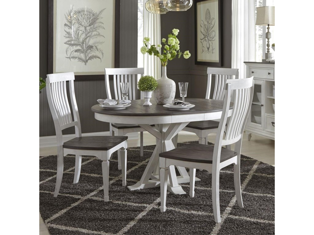 Liberty Furniture Allyson Park5 Piece Pedestal Table Set