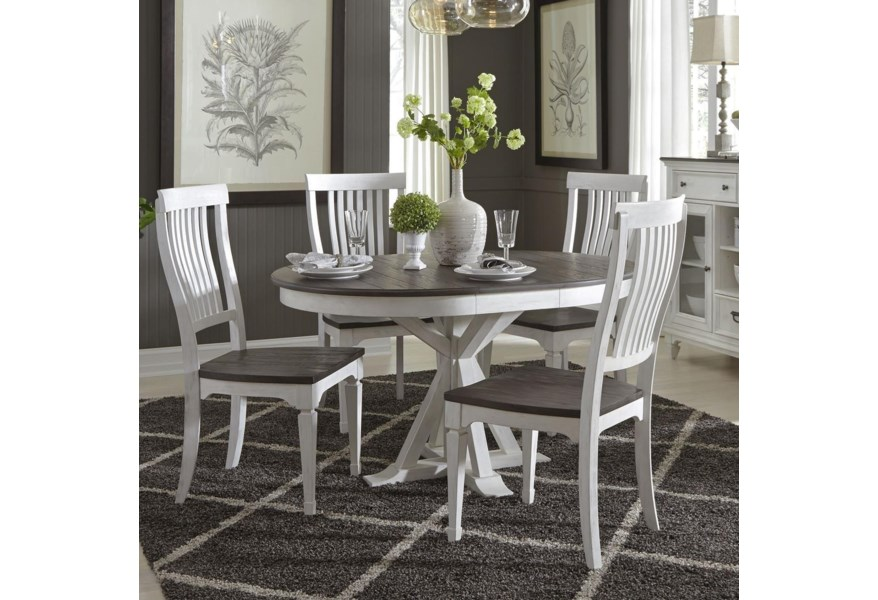 Cottage Park Cottage Two-Toned 5 Piece Pedestal Table Set by Liberty  Furniture at Hudson\'s Furniture