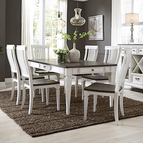 Liberty Furniture Allyson Park Transitional 7 Piece Rectangular Table Set