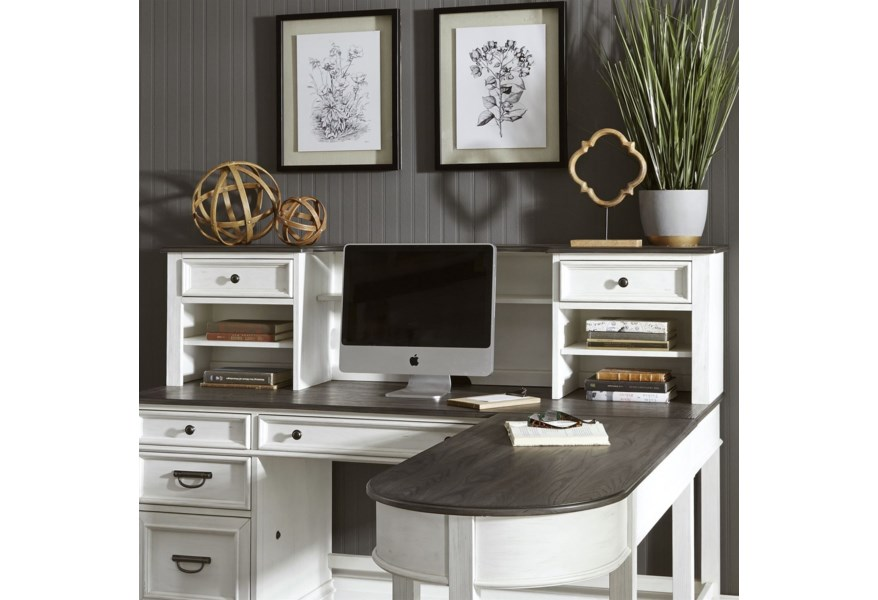 Liberty Furniture Allyson Park Transitional L Shaped Desk With Hutch Suburban Furniture Desk Hutch Sets