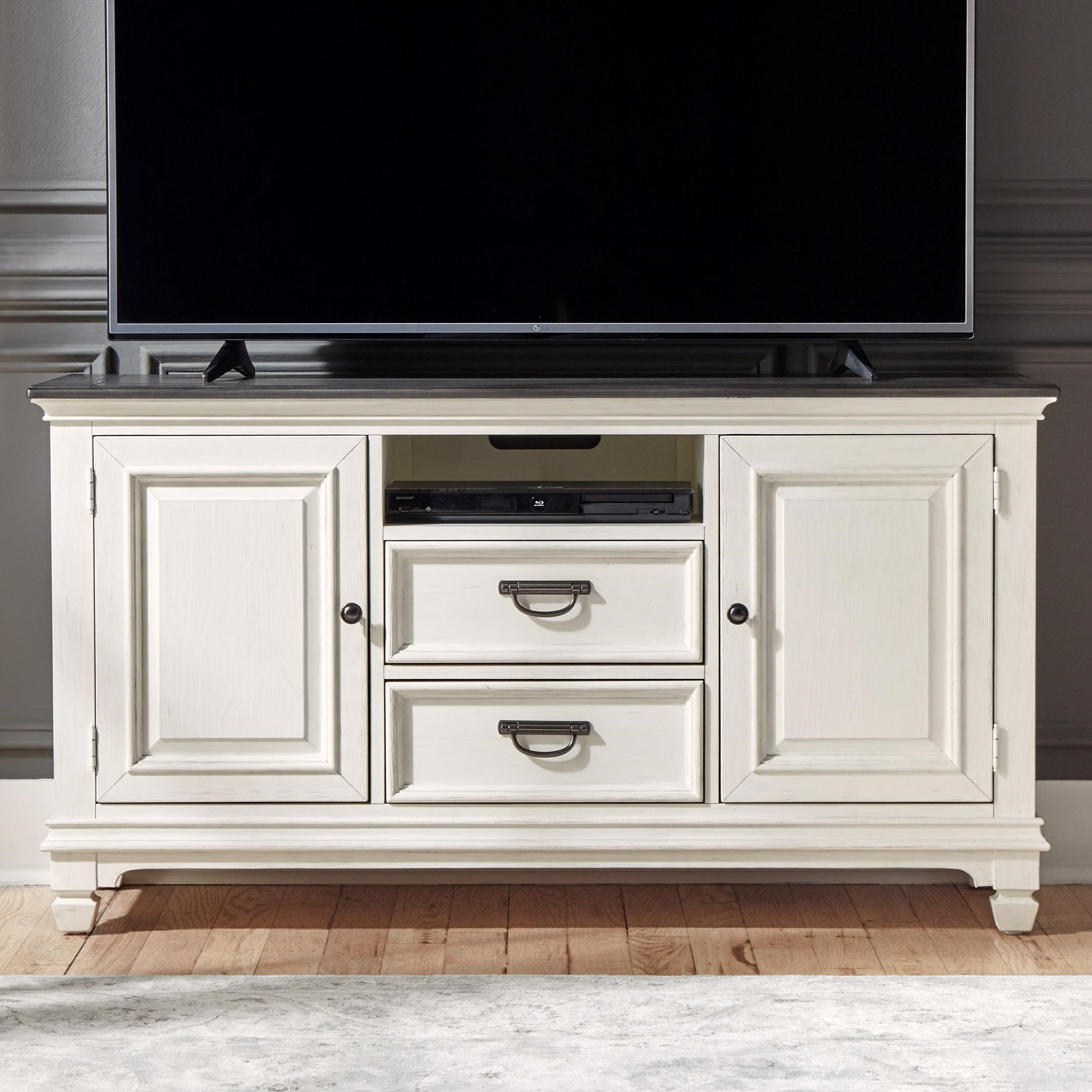 """Transitional 56"""" TV Console with Wire Management"""