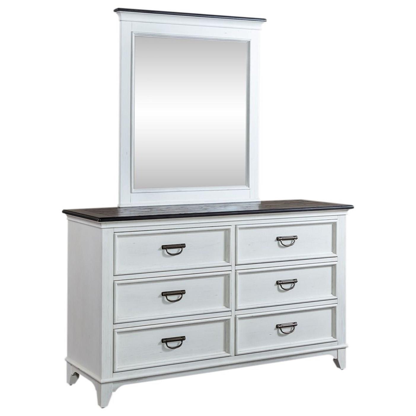 Kid's 6-Drawer Dresser & Mirror Set