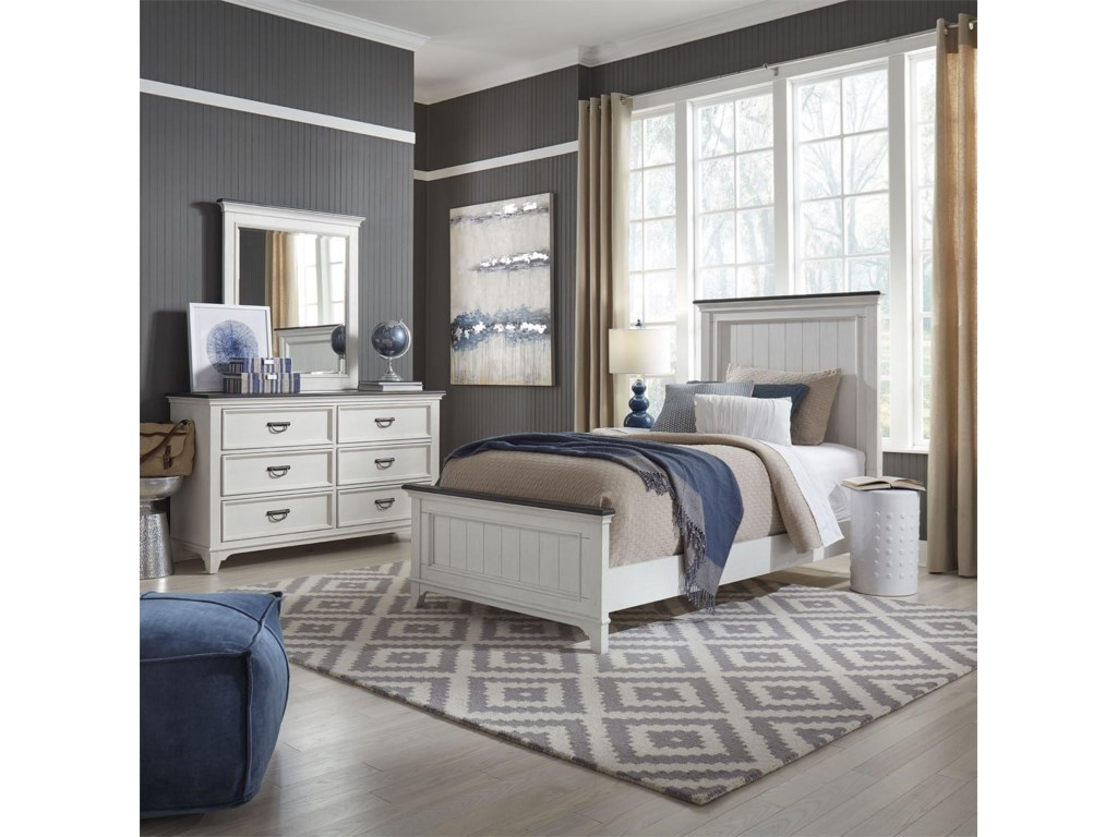 Liberty Furniture Allyson ParkTwin Panel Bed, Dresser & Mirror