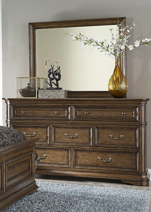 Liberty Furniture Amelia Traditional 7-Drawer Dresser with Light Distressing and Wood Framed Mirror Set