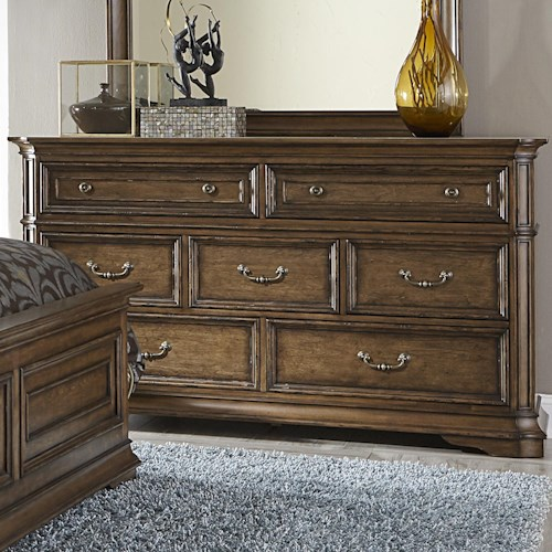 Liberty Furniture Amelia Traditional 7-Drawer Dresser with Light Distressing
