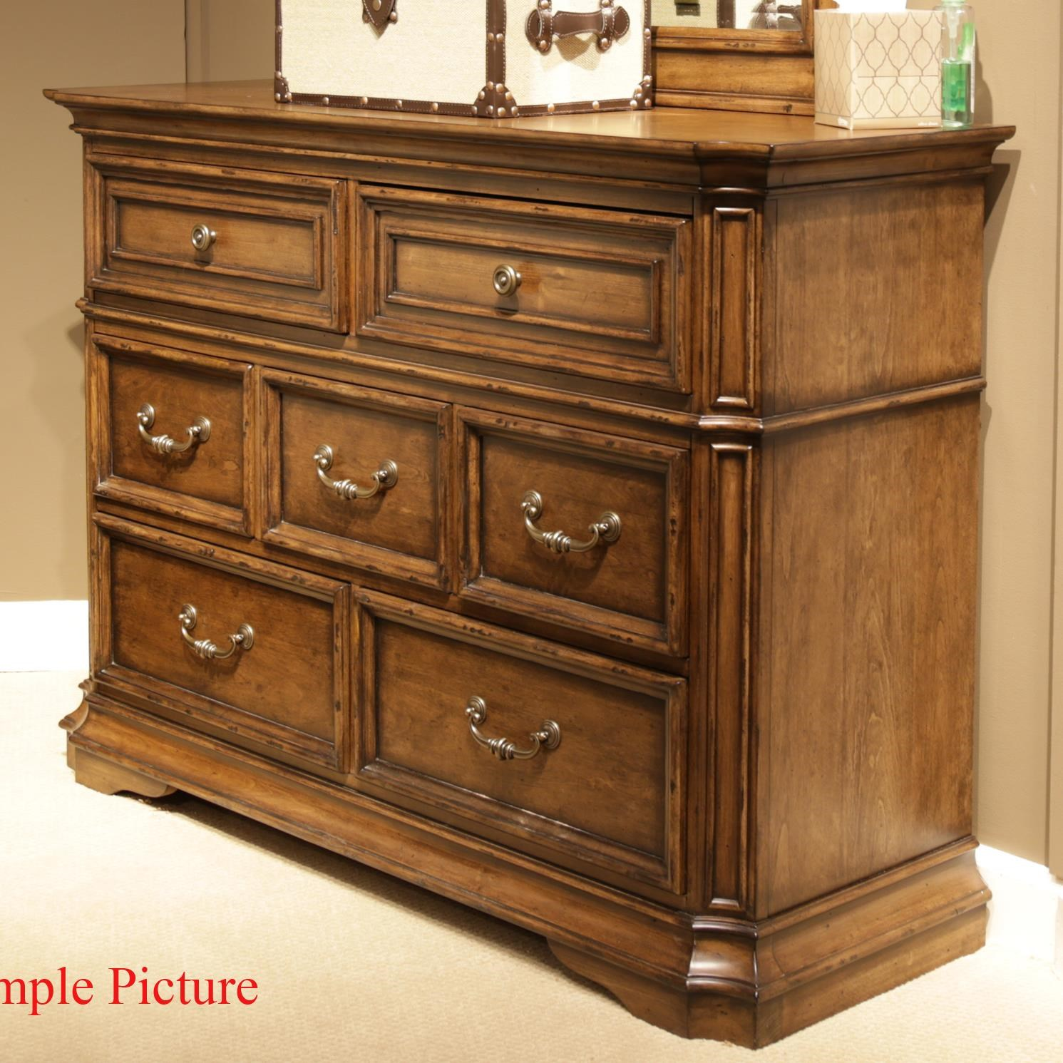 Liberty Furniture Amelia Traditional 7 Drawer Media Dresser With Light  Distressing   Great American Home Store   Media Chests