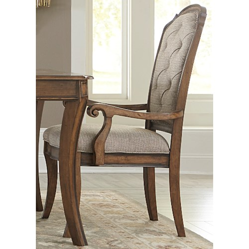 Liberty Furniture Amelia Dining RTA Upholstered Arm Chair with Button Tufting