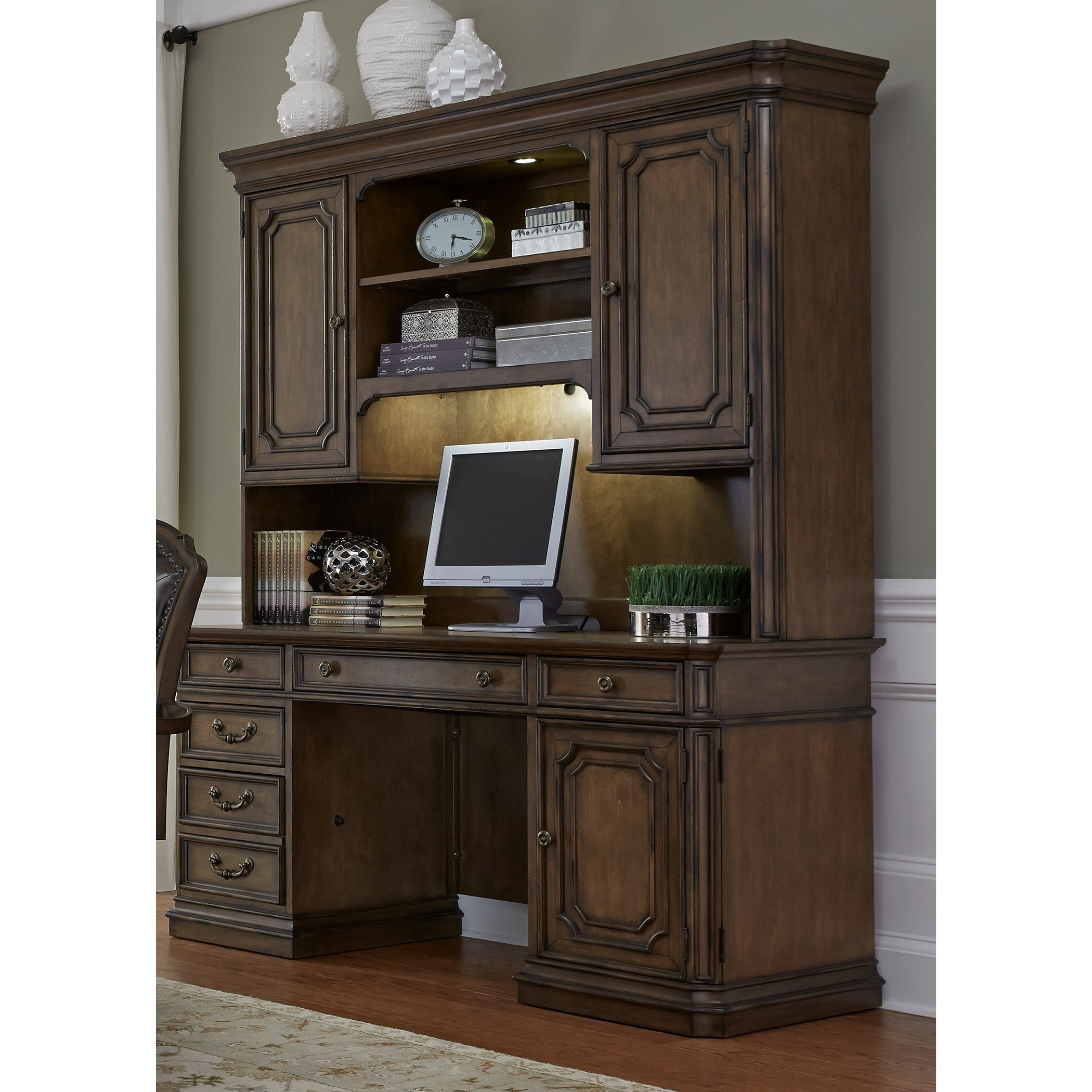 Liberty Furniture Amelia Home Office Traditional Executive Credenza With  Adjustable Task Lighting