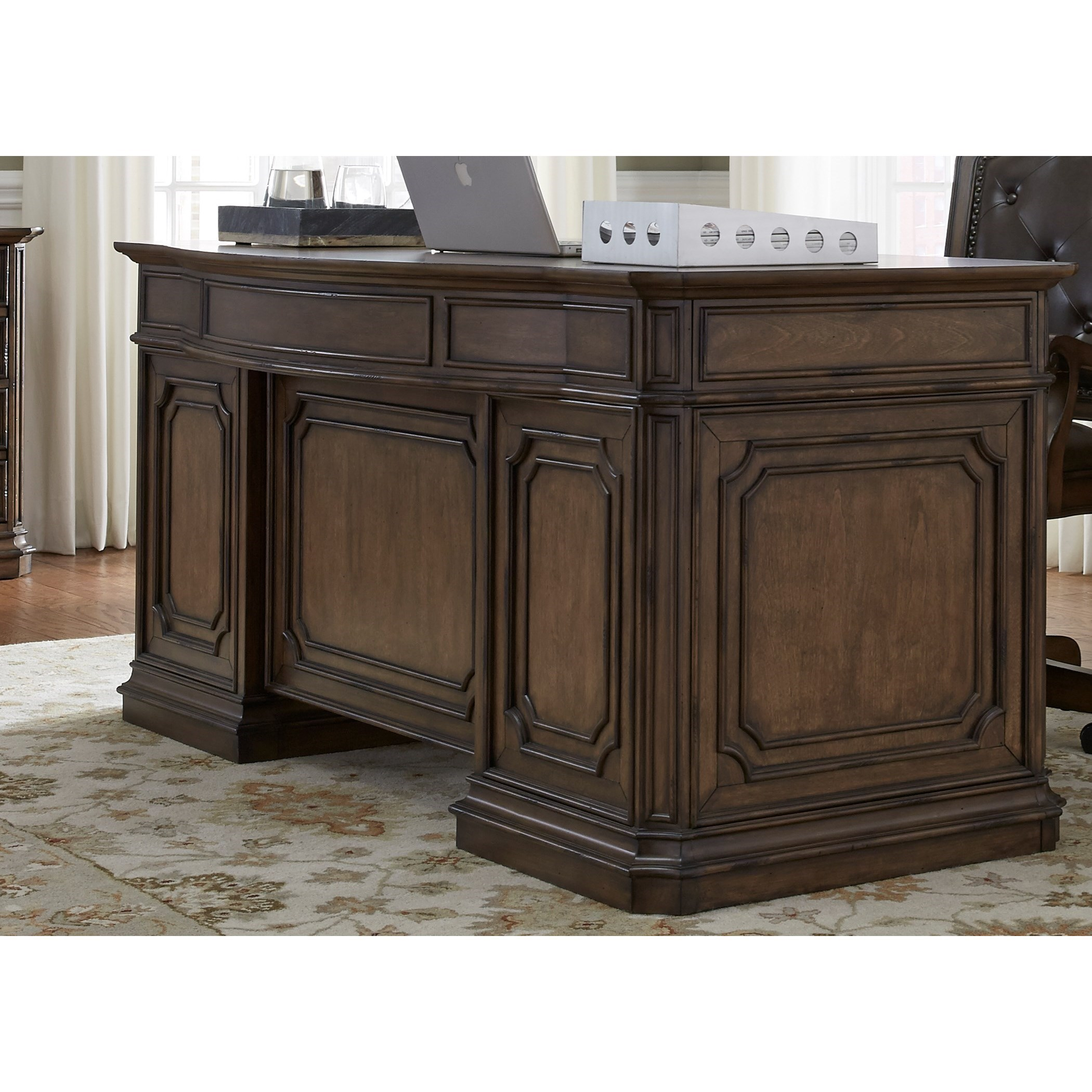 Traditional Executive Desk with Fully Stained Interior Drawers