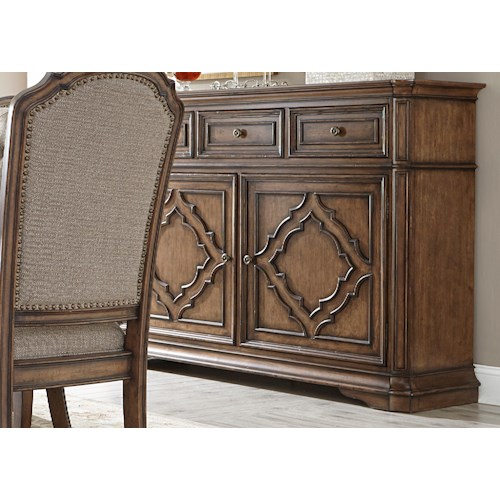 Liberty Furniture Amelia Dining Server with Decorative Overlay Motif