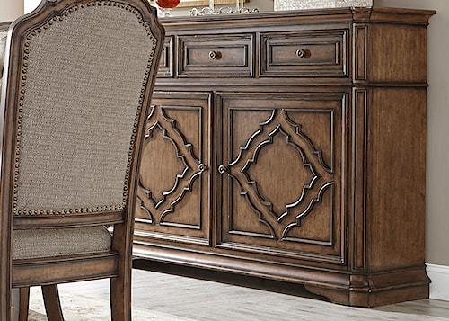 Liberty Furniture Amelia Dining Server with Decorative Overlay Motif