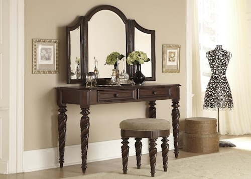 Liberty Furniture Arbor Place Vanity and Mirror Set with Upholstered Stool