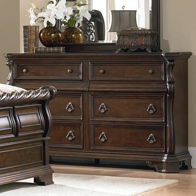 8 Drawer Double Dresser with Burnished Brass Hardware