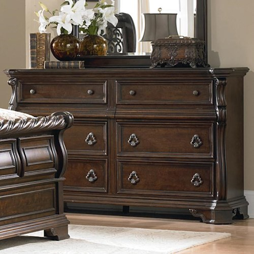 Liberty Furniture Arbor Place 8 Drawer Double Dresser with Burnished Brass Hardware