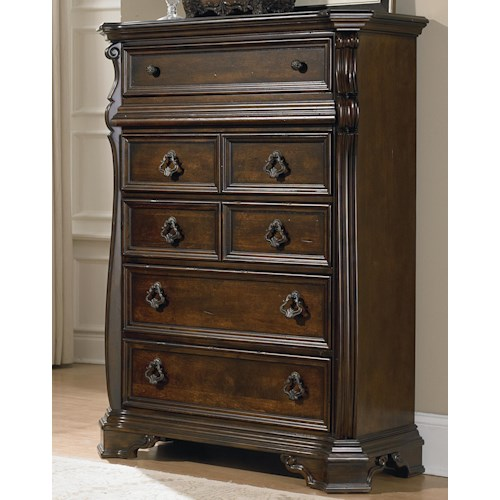 Liberty Furniture Arbor Place 6 Drawer Chest with Ornate Moulding and Burnished Brass Hardware