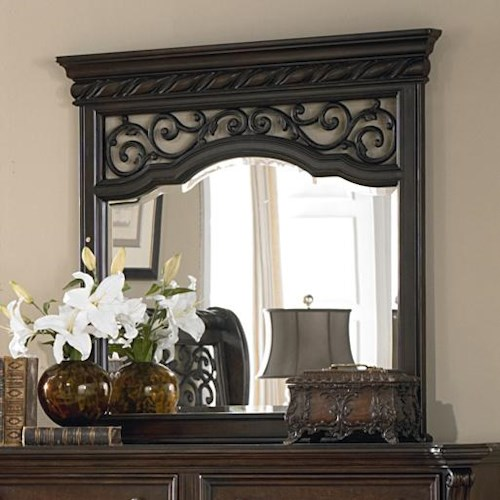 Liberty Furniture Arbor Place Landscape Mirror with Burnished Brass Metal Inserts