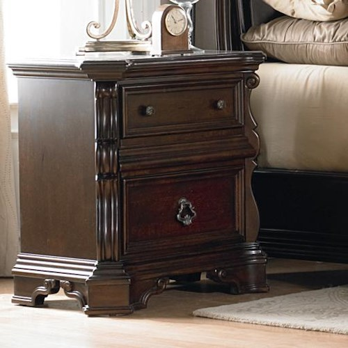 Liberty Furniture Arbor Place 2 Drawer Nightstand with Ornate Moulding and Burnished Brass Hardware