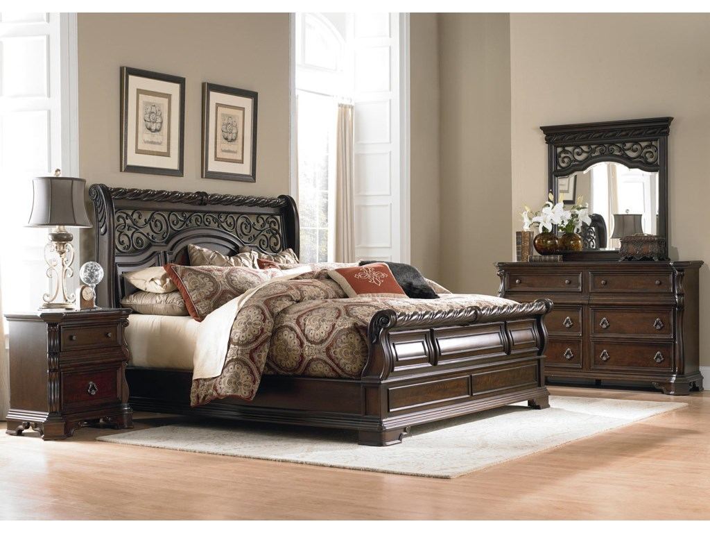 Liberty Furniture Arbor PlaceKing Sleigh Bed, Dresser, Mirror & Nightstan