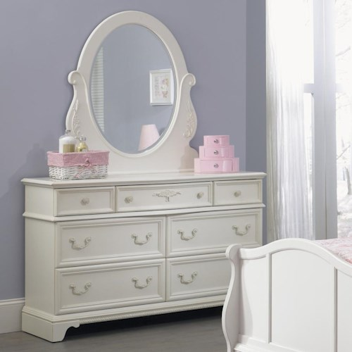 Liberty Furniture Arielle Youth Bedroom 7 Drawer Dresser &  Oval Mirror