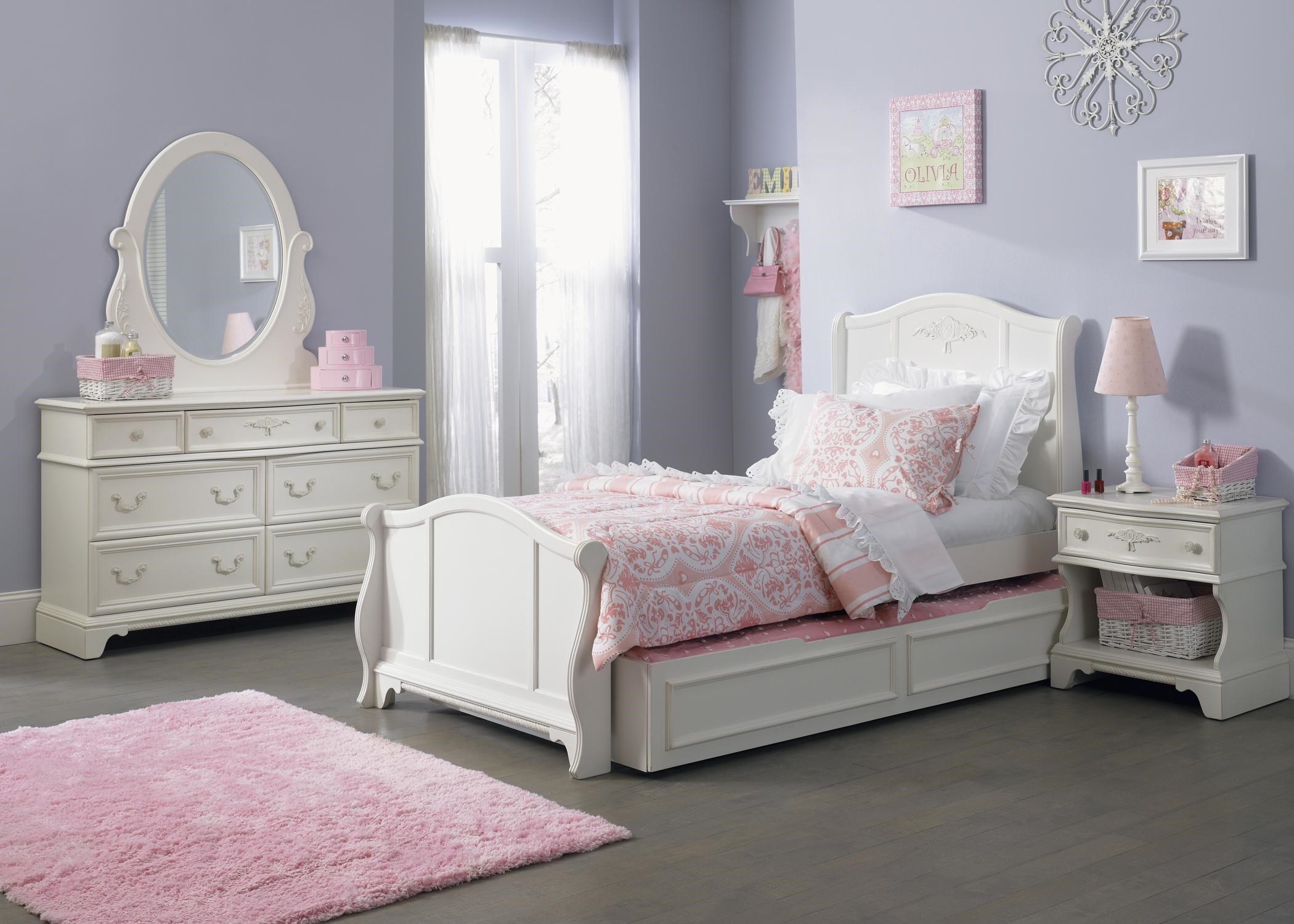 ... Furniture Arielle Youth Bedroom Dresser U0026 Mirror. Shown With Sleigh  Bed, Trundle, And Nightstand