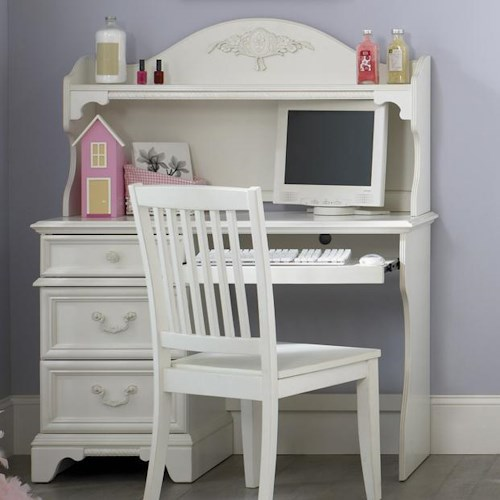 Liberty Furniture Arielle Youth Bedroom Traditional Single Pedestal Student Desk & Arched Hutch