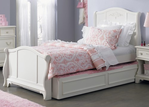 Liberty Furniture Arielle Youth Bedroom Traditional Twin Size Sleigh Bed with Trundle Drawer