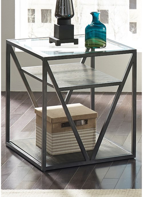 Liberty Furniture Urban End Table with Glass Top