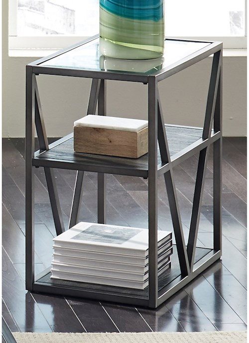 Liberty Furniture Urban Chair Side Table with Glass Top