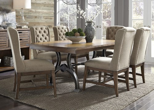 Liberty Furniture Emma 7 Piece Trestle Table and Chair Set