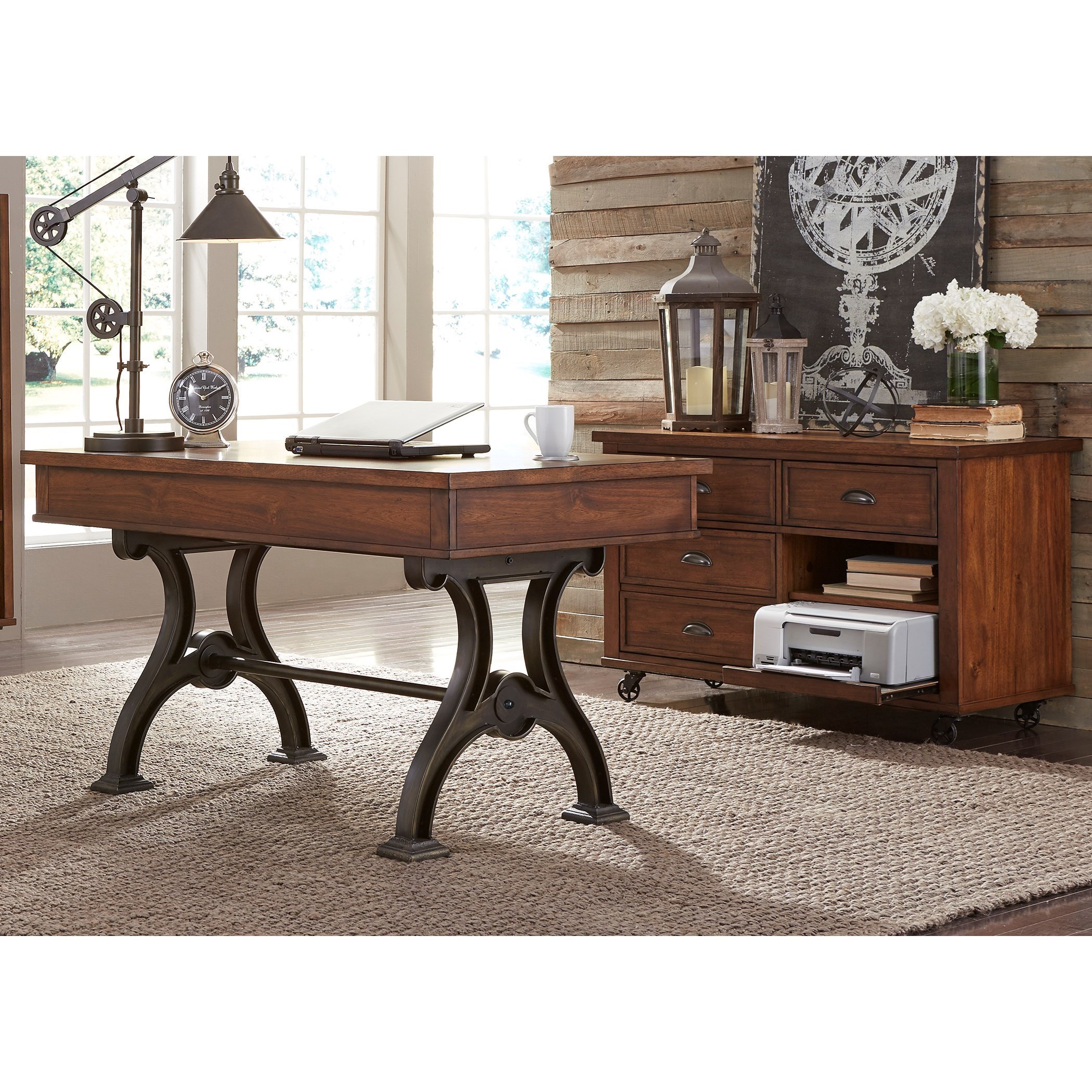 Writing Desk and Credenza Set