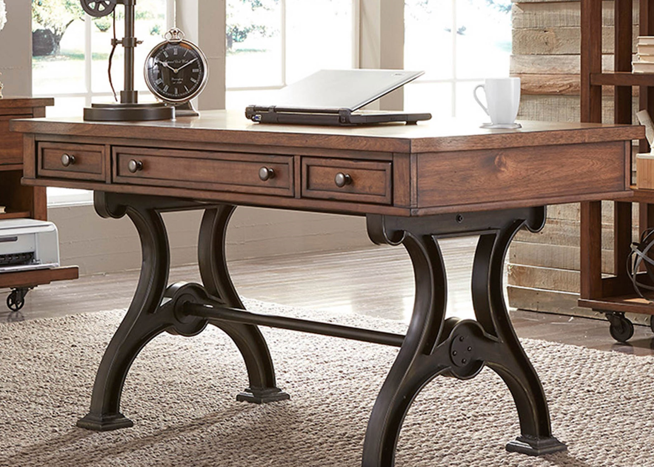 liberty furniture arlington writing desk with 3 dovetail drawers novello home furnishings table desks