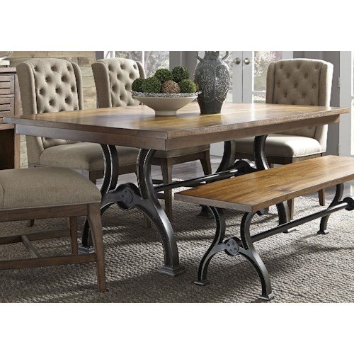 Liberty Furniture Arlington Trestle Table With Metal Base Pilgrim Furniture City Dining Tables