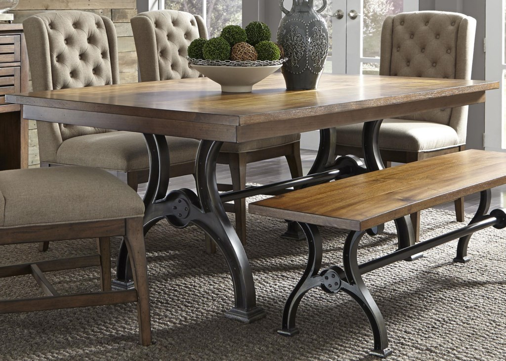 Liberty Furniture Arlington Trestle Table with Metal Base