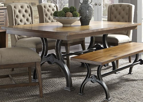 Liberty Furniture Emma Trestle Table with Metal Base