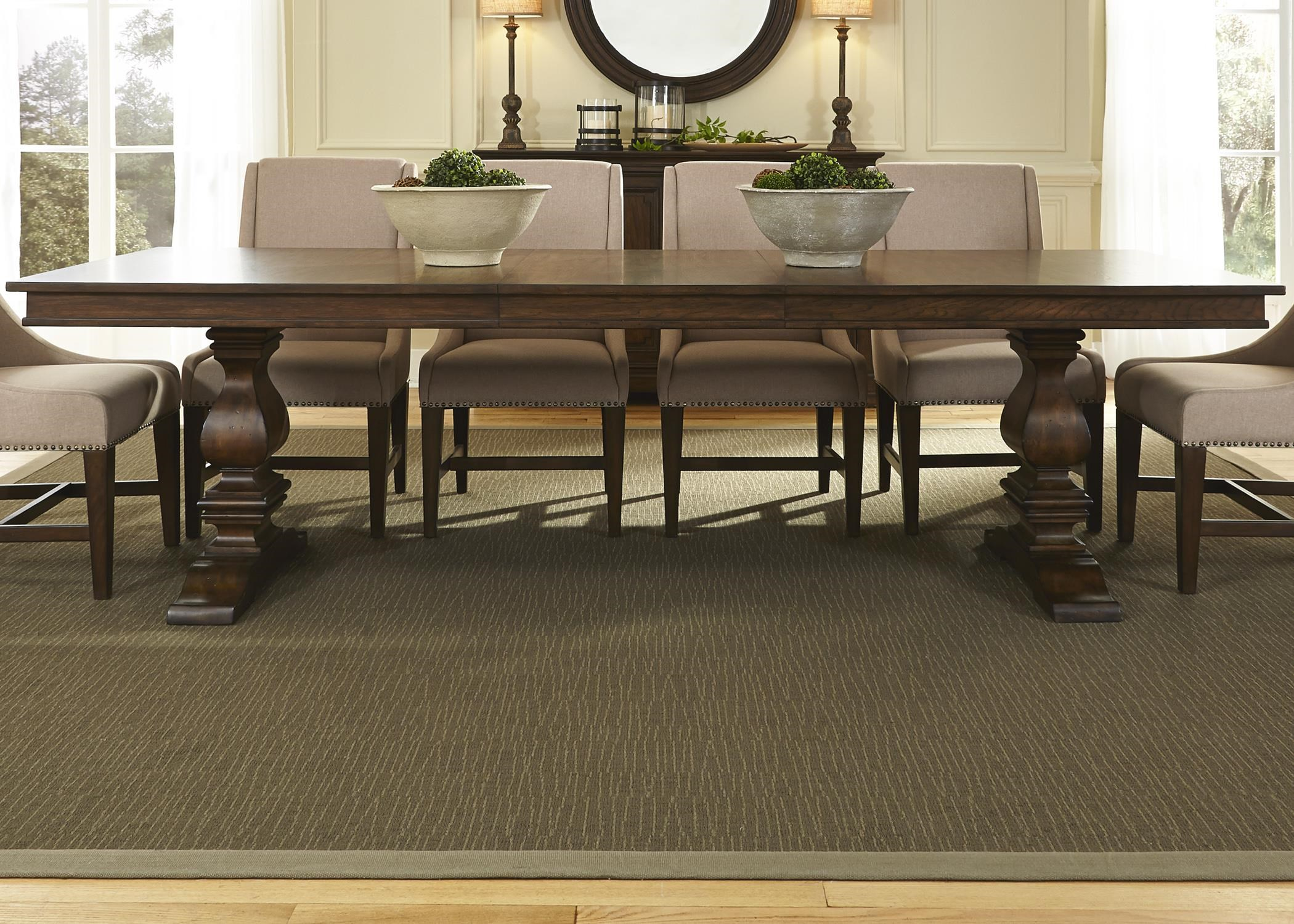Traditional Wood Dining Tables liberty furniture armand traditional trestle table - wayside